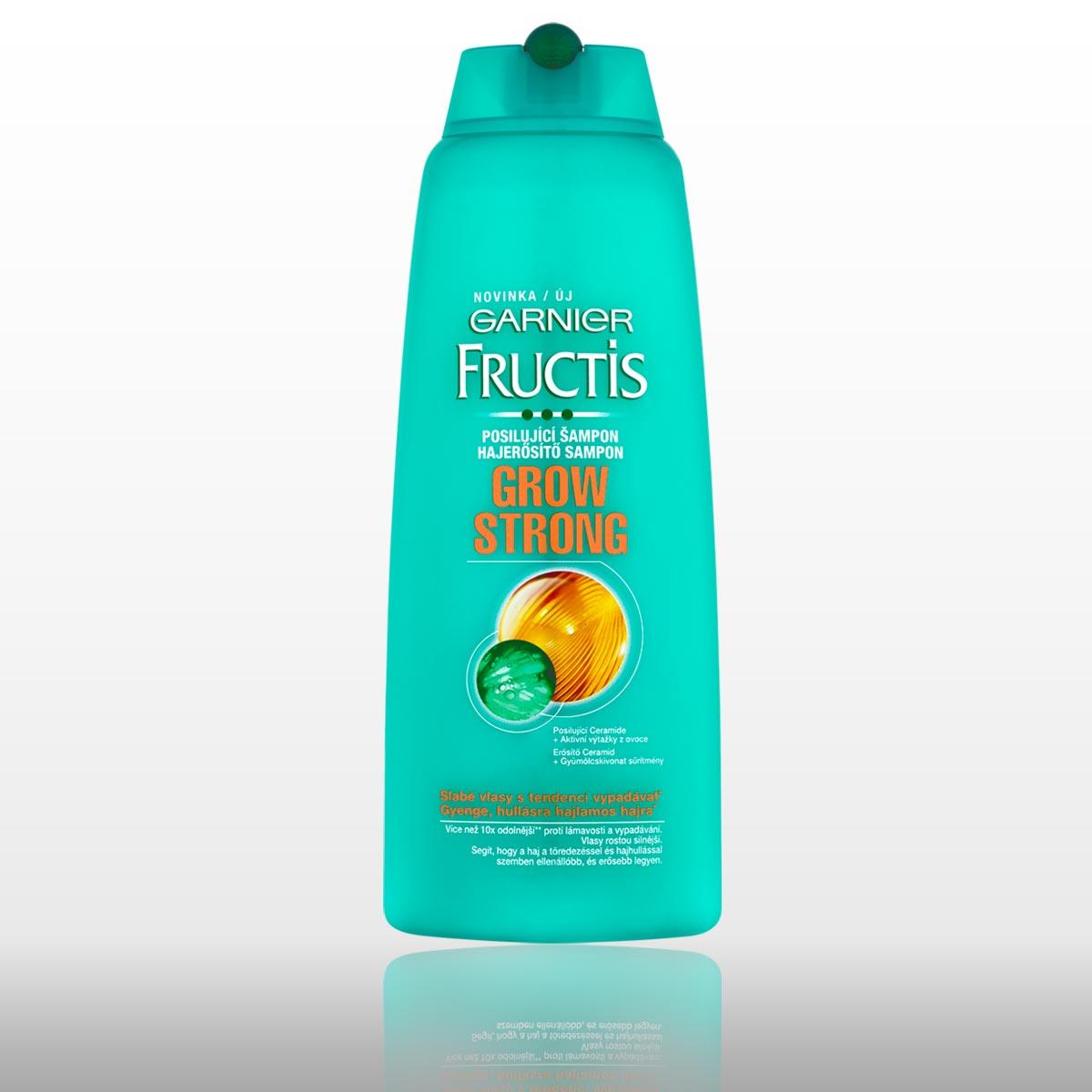 Šampón Garnier Fructis Grow Strong pre slabé vlasy.