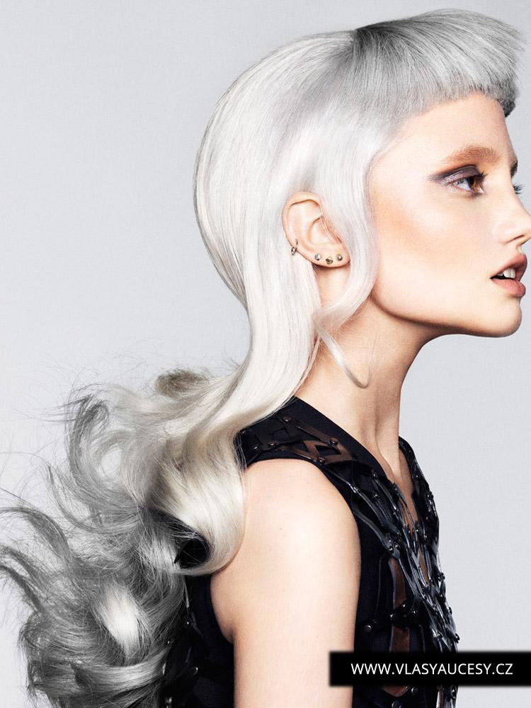 Strieborné vlasy ako nová blond od Cos Sakkas (BHA 2015): Šedá je farbou roka 2016 pre vlasy. Tento účes pre dlhé vlasy sa hodí aj pre jemné vlasy. Nie je príliš náročný na objem dlhých vlasov. Sivé vlasy ako tieň na biele blond navyše účesu pridávajú optický objem.