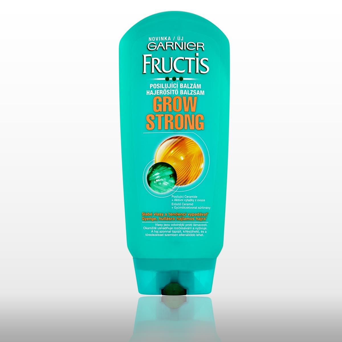 Kondicionér Garnier Fructis Grow Strong pre slabé vlasy.