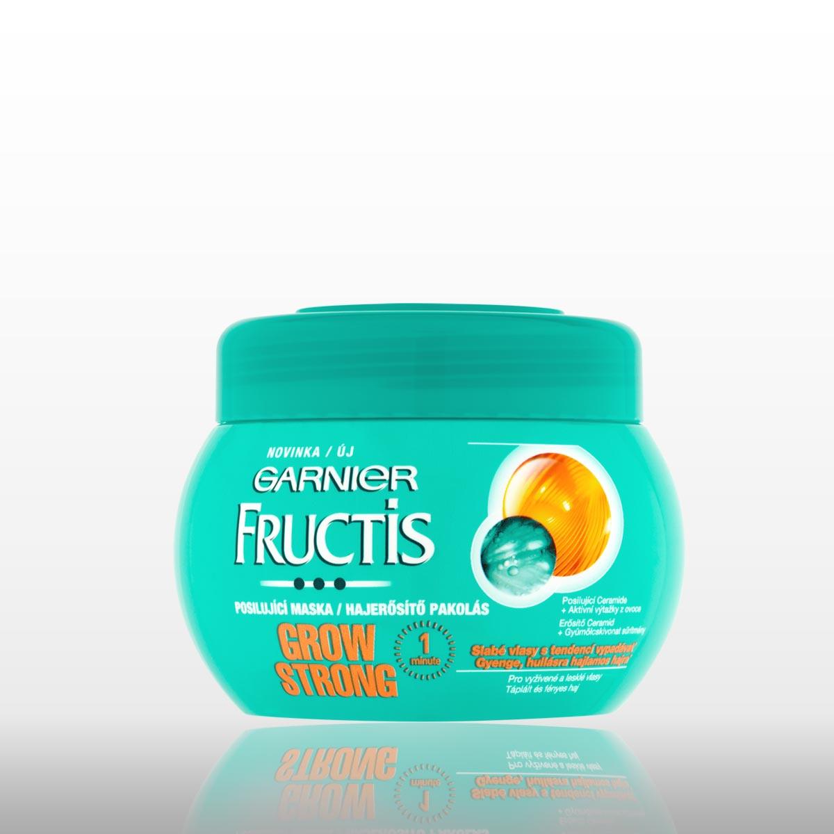 Maska Garnier Fructis Grow Strong pre slabé vlasy.