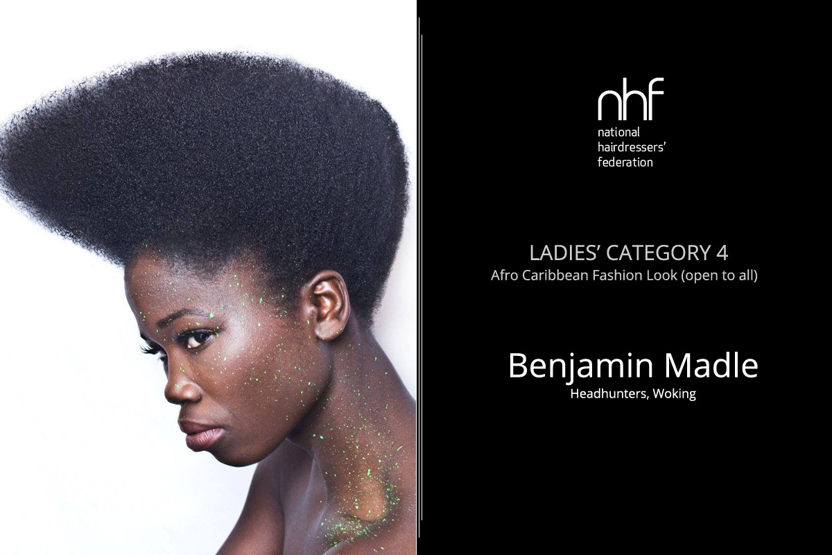 Fotoštylista Británie 2015 (Photographic Stylist – NHF) – víťaz Benjamin Madle – Headhunters, Woking, (Ladies Category 4 – Afro-Caribbean – Fashion Look).