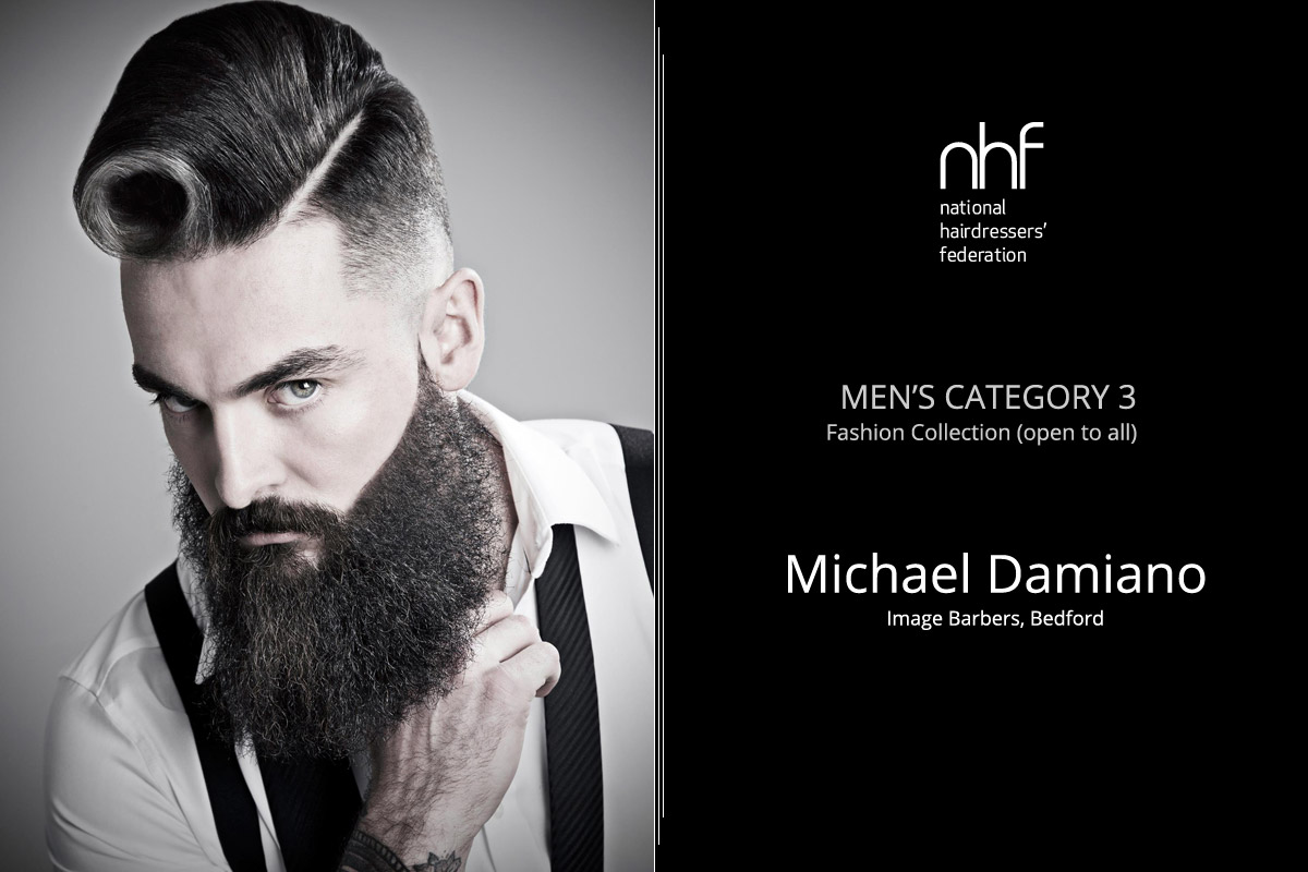 Fotoštylista Británie 2015 (Photographic Stylist – NHF) – víťaz Michael Damiano – Image Barbers, Bedford (Men 'Category 3 – Fashion Collection).