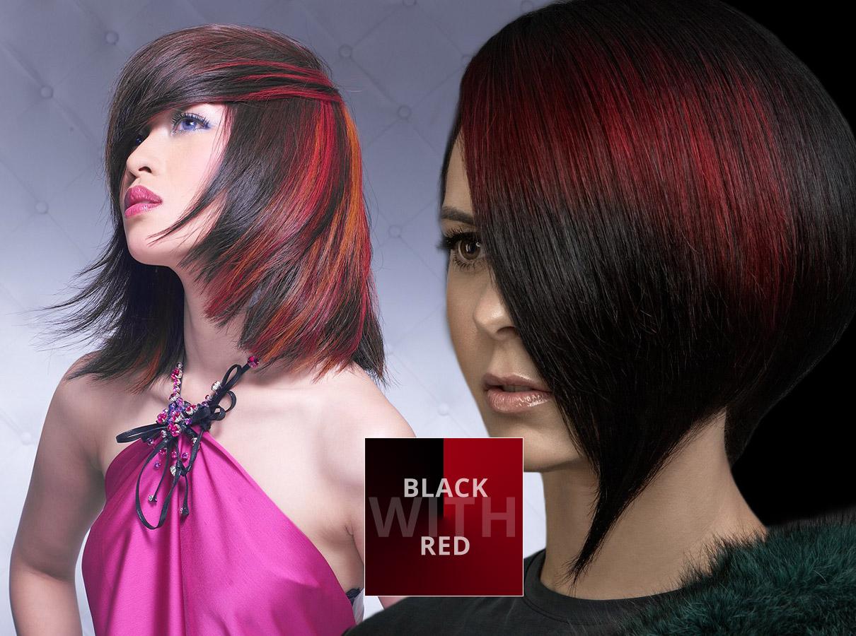 Farby pre polodlhé vlasy – trendy jeseň/zima 2015/2016: Black and red ako pekelná sila kontrastu.