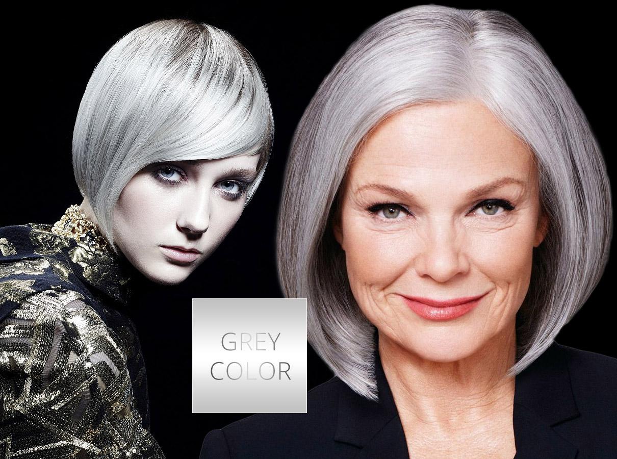 Farby pre polodlhé vlasy – trendy jeseň/zima 2015/2016: Šedé vlasy sa presadia aj ako kľúčová farba.