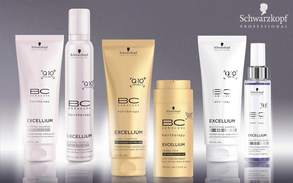 BC EXCELLIUM Q10 + od Schwarzkopf Professional: Navráti vlasom mladistvosť pomocou obsiahnutého Q10 +. Jedná sa o anti-aging enzým, u ktorého je preukázané, že stimuluje tvorbu keratínu v korienkoch vlasov a dodáva vlasom mladistvú vitalitu a silu. Q10 + je hlavnou zložkou tohto radu a vytvára základ pre silnejšiu štruktúru vlasov.