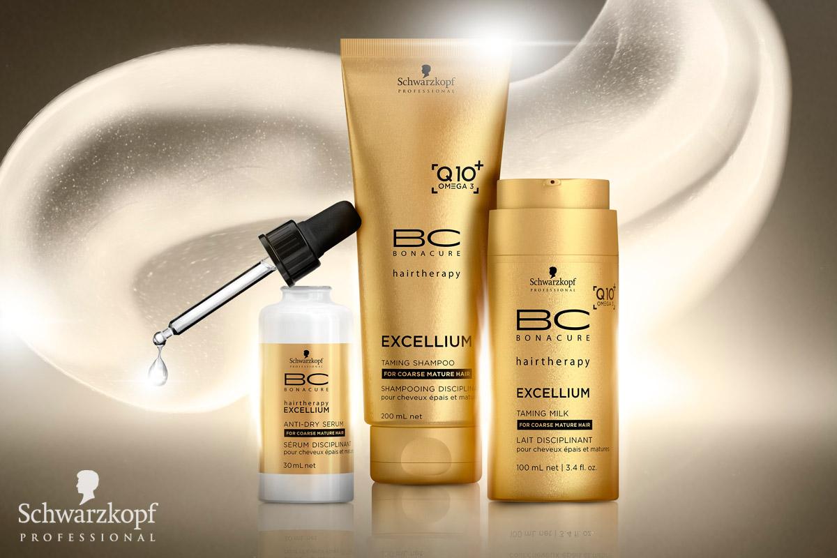 BC EXCELLIUM Q10 + Omega 3 od Schwarzkopf Professional: Farbené, zrelé vlasy môžu časom pôsobiť hrubo a vysušene, preto potrebujú špeciálnu a intenzívnu starostlivosť, ktorá im navráti lesk a výživu. Prídavok Omega-3 rady BC EXCELLIUM Q10 + môže s problémom pomôcť. Tieto esenciálne mastné kyseliny vyživujú vlasy a oslňujú svojim mimoriadnym anti-aging efektom. Vyhladzujú povrch vlasov a obnovujú zdravý lesk. Vlasy získajú späť svoju silu a oveľa lepšie sa s nimi pracuje