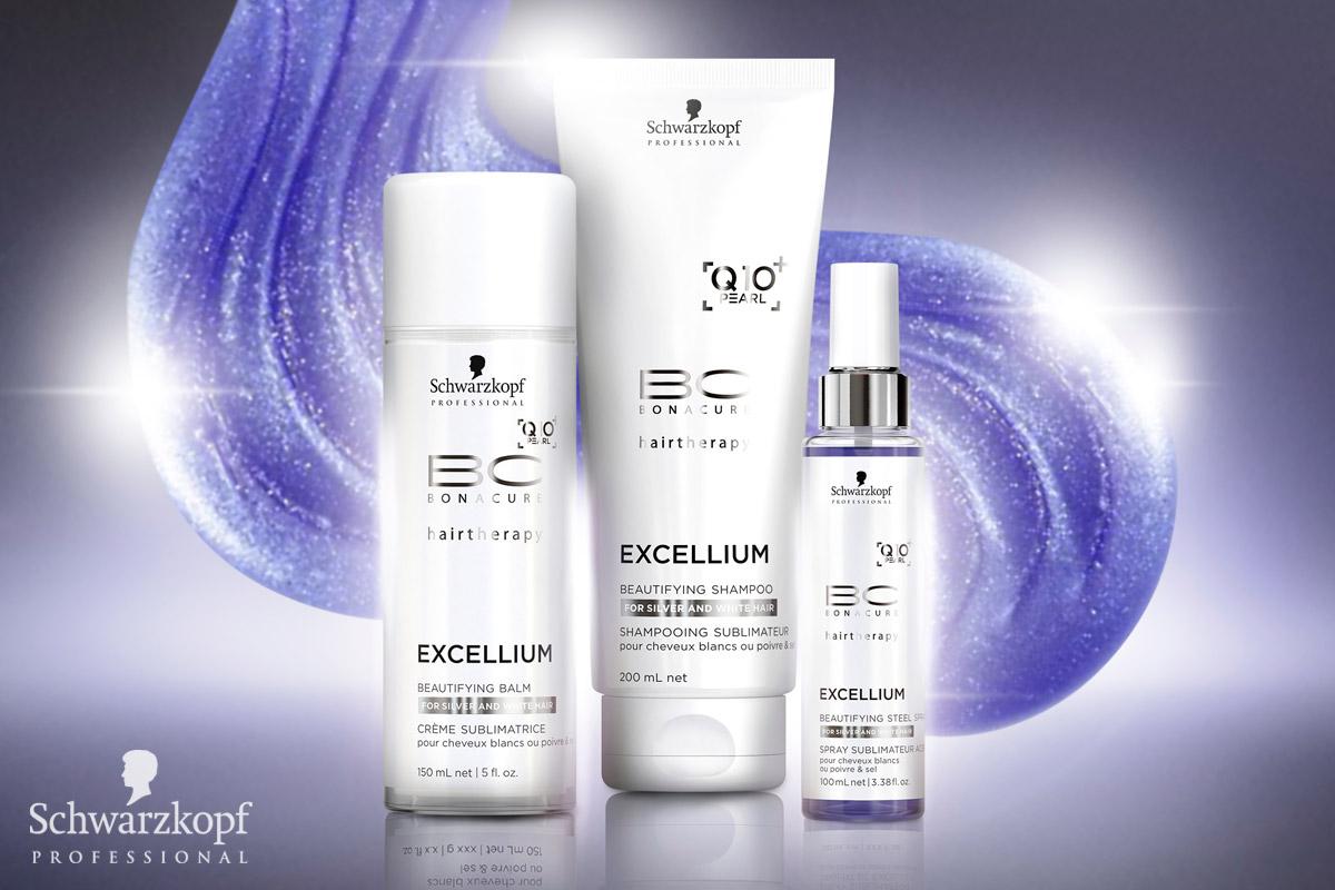 BC EXCELLIUM Q10 + Pearl od Schwarzkopf Professional: Prirodzene šedé vlasy potrebujú špeciálnu starostlivosť, pretože žlté tóny a porézna štruktúra vlasov sú každodenným problémom. BC EXCELLIUM Q10 + Pearl skrášľuje zrelé vlasy pomocou výťažkov z perál, neutralizuje žlté tóny a dodáva vysoký lesk.