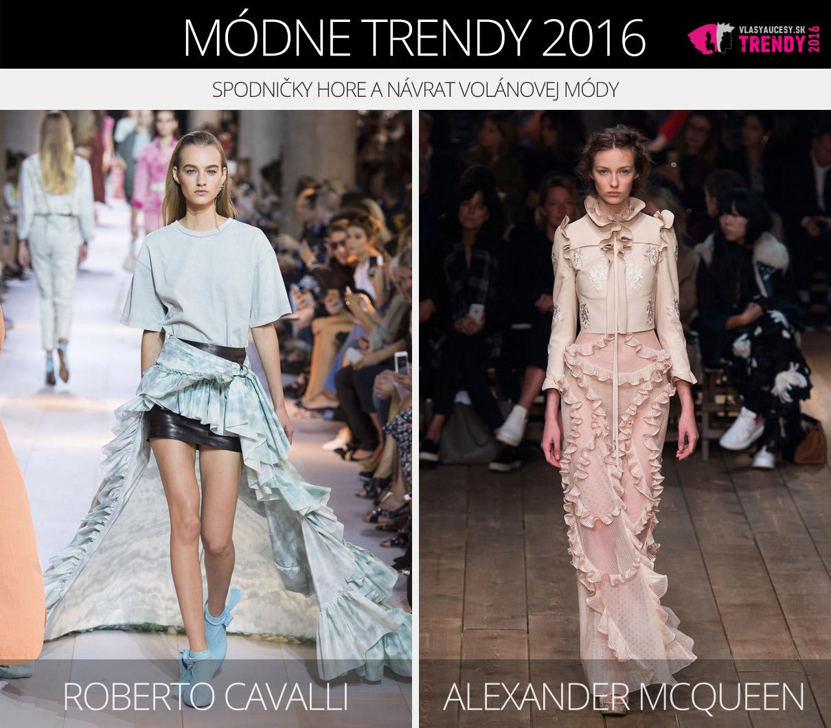 25810c50a Módne trendy 2016 – spodničky hore a volány. (Zľava: Roberto Cavalli a  Alexander