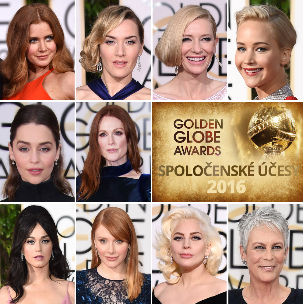 Spoločenské účesy z Golden Globes 2016 – inšpirácia pre účesy na ples.
