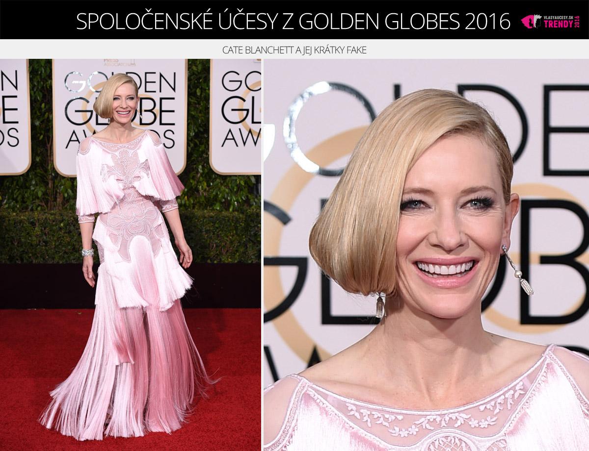 Spoločenské účesy z Golden Globes 2016 – Cate Blanchett a jej krátky fake.