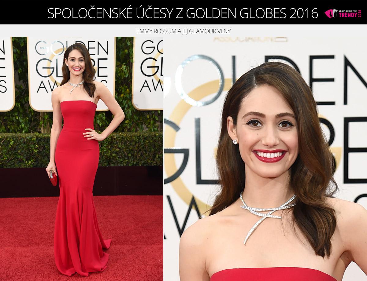 Spoločenské účesy z Golden Globes 2016 – Emmy Rossum a jej glamour vlny.