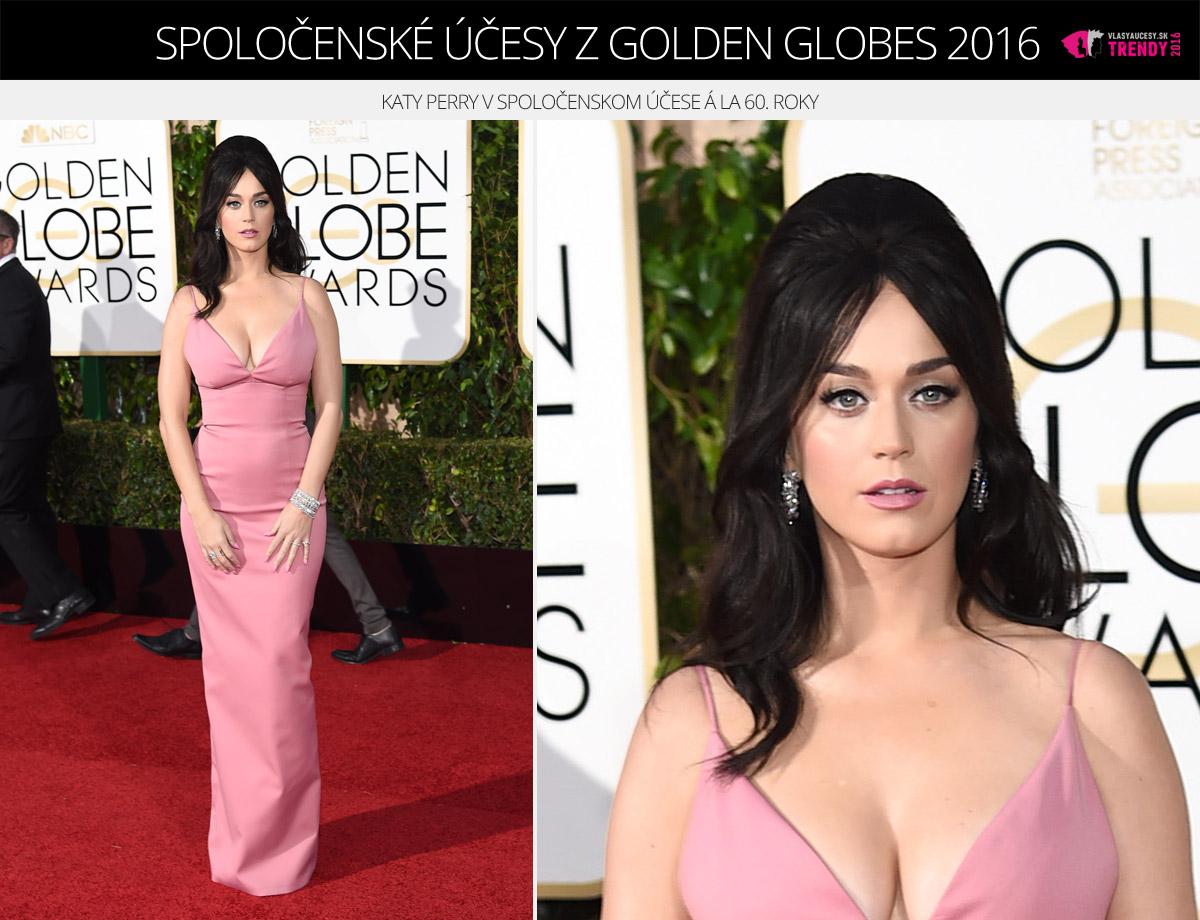 Spoločenské účesy z Golden Globes 2016 – Katy Perry v spoločenskom účese á la 60. roky.