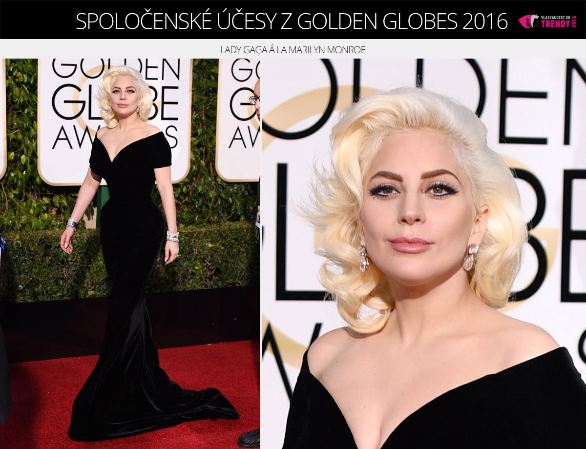 Spoločenské účesy z Golden Globes 2016 – Lady Gaga á la Marilyn Monroe.