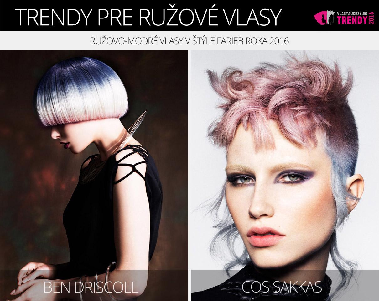 Ružová farba účesov 2016 – ružovo-modré vlasy v štýle farieb roka 2016 (Rose Quaratz a Serenity).