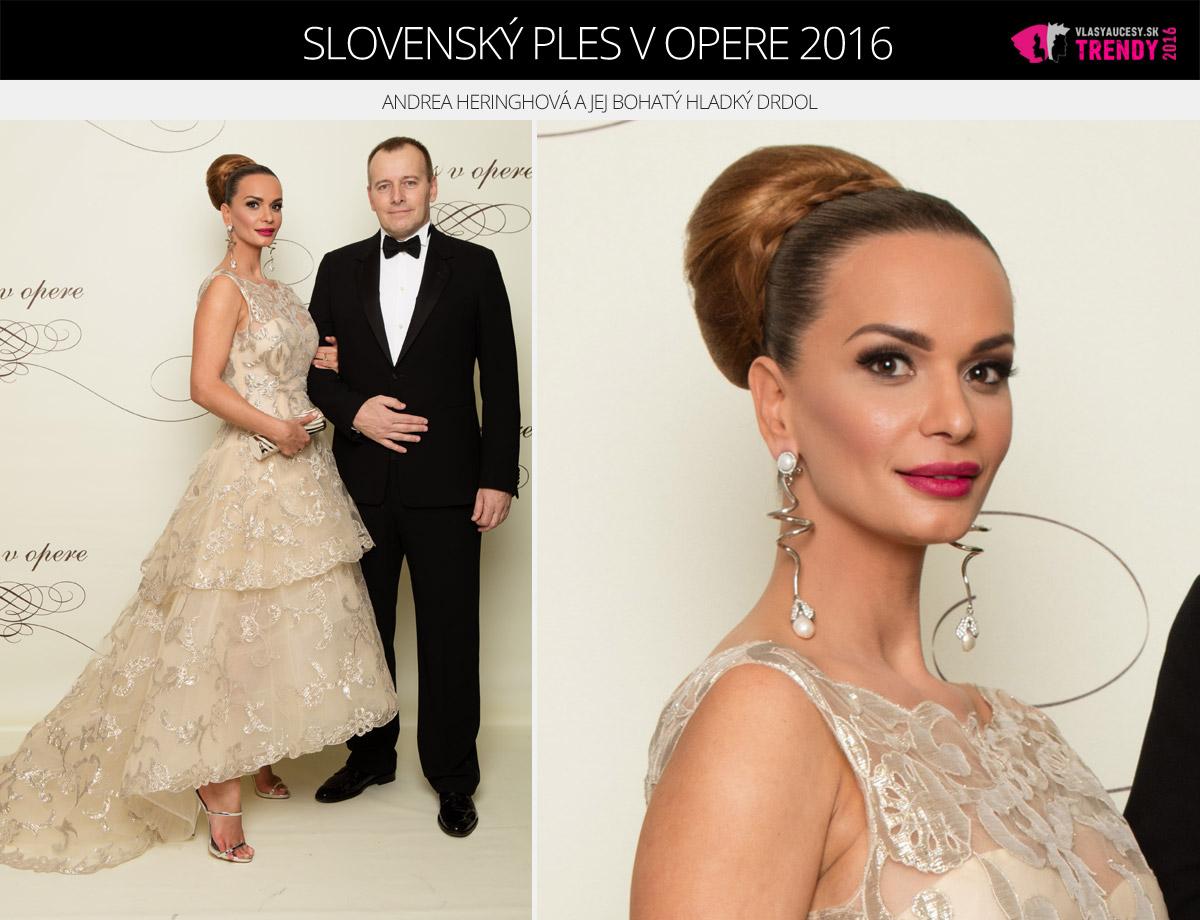 Ples v opere 2016 Bratislava – Andrea Heringhová s partnerom Borisom Kollárom.