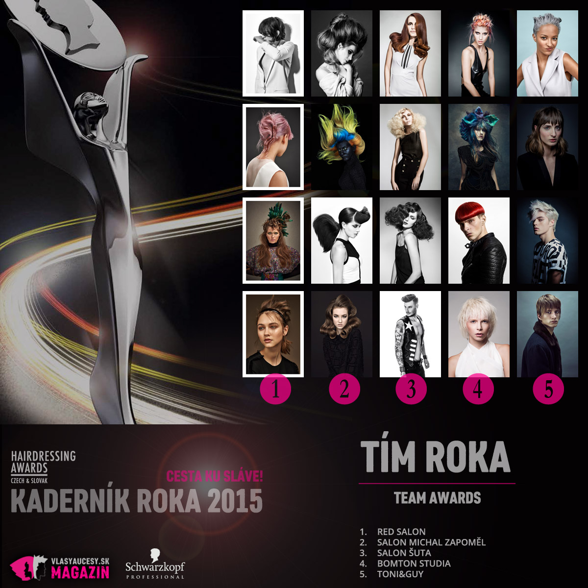 Kaderník roka 2015 – kategória Tím roka / Team Awards (RED Salon, Salon Michal Zapoměl, Salon ŠUTA, Bomton Štúdiá, Toni & Guy).