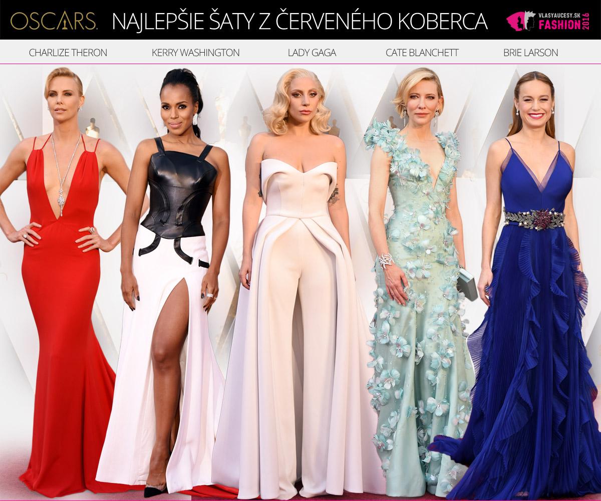 Najkrajšie šaty celebrít z červeného koberca pri udeľovaní cien Oscar 2016: zľava Charlize Theron (spoločenské šaty Dior Haute Couture 2016), Kerry Washington (večerné šaty Atelier Versace Haute Couture 2016), Lady Gaga (slávnostný overal Brandon Maxwell 2016), Cate Blanchett Armani ( šaty Prive Haute Couture 2016) a Brie Larson (šaty na ples a do spoločnosti Gucci 2016).