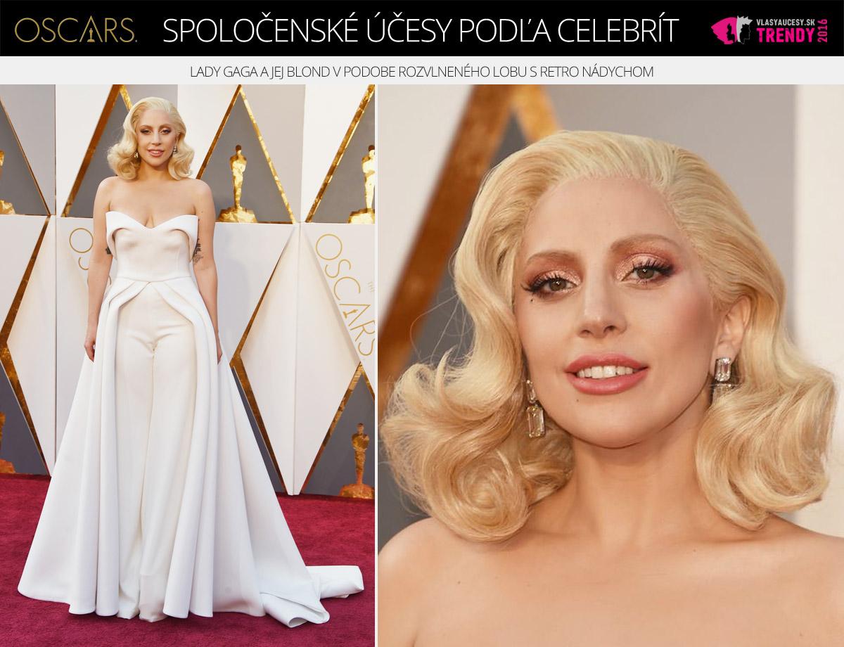 Spoločenský účes Lady Gaga – Oscar 2016.