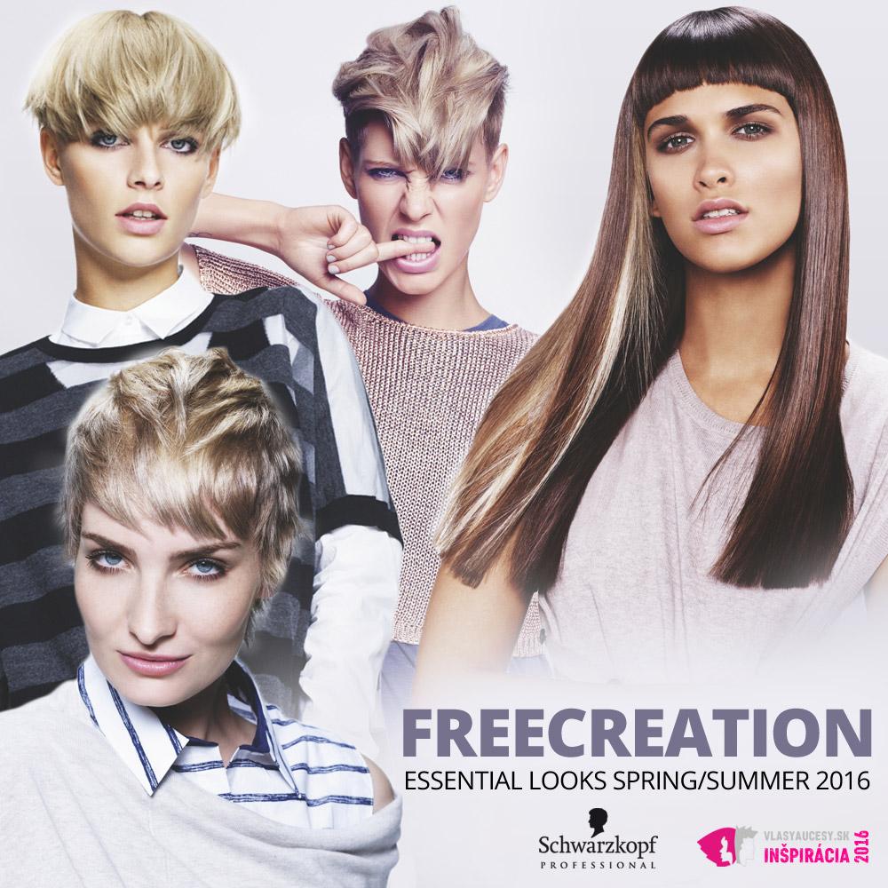 Schwarzkopf Professional predstavuje účesy pre jar a leto 2016 v kolekcii Essential Looks S/S 2016 – Freecreation.