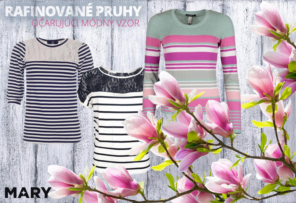 Pruhy sú rafinovaný módny vzor, ktorým môžete očariť aj tento rok na jar. (Oblečenie na obrázkoch kúpite v e-shope Mary-fashion.sk.)