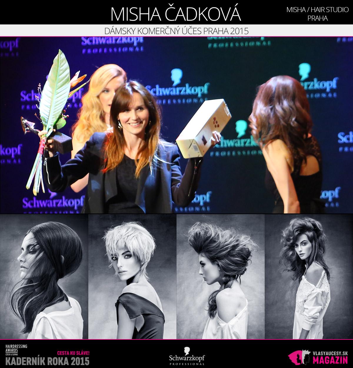 Víťazom v kategórii Dámsky komerčný účes Praha Czech and Slovak Hairdressing Awards 2015 je Misha Čadková z Misha / hair štúdio Praha.