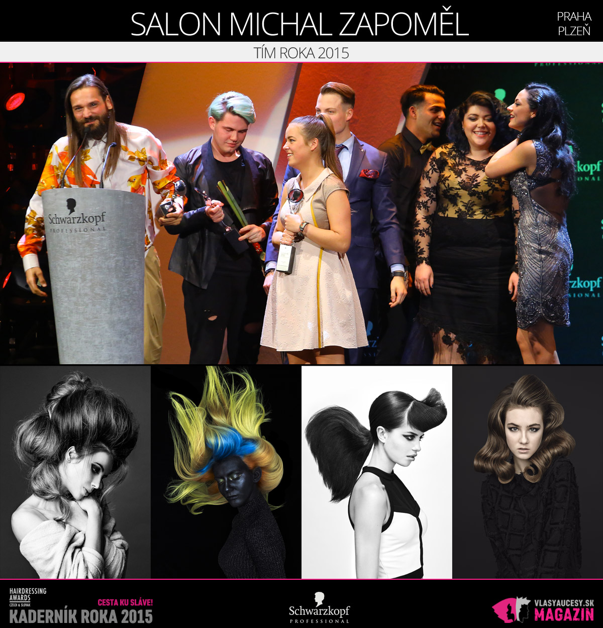 Víťazom v kategórii Tím roka 2015 Czech and Slovak Hairdressing Awards 2015 je Salon Michal Zapoměl.