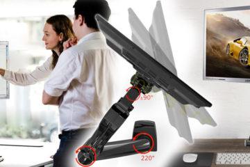 Skúste nového pomocníka. Stolný držiak na monitor Fiber Mounts F80 dokáže s vaším pracovným či prezentačným miestom urobiť hotové divy.
