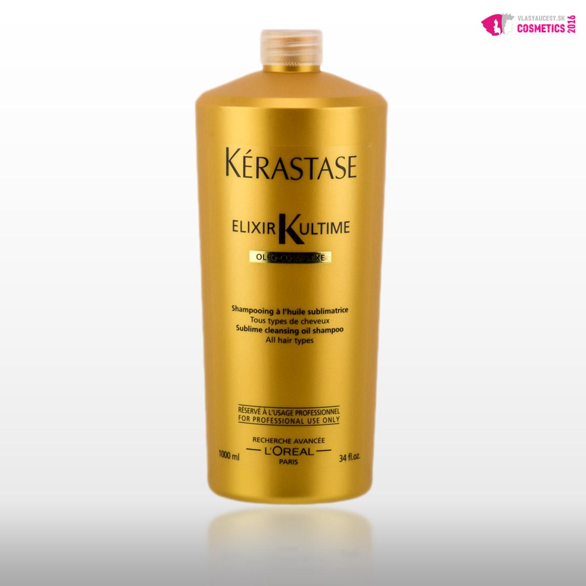 Šampóny Kérastase pre suché vlasy: Kérastase Elixir Ultime bohatý olejový šampón pre silné, hrubé a suché vlasy, cena od 18.20 €.