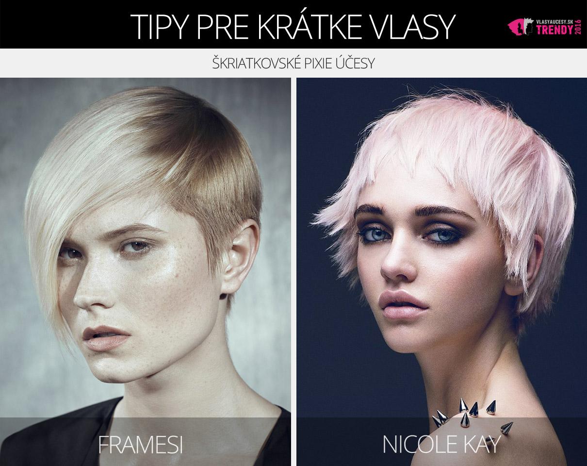 Pixie strihy pre krátke vlasy z kolekcií Framesi a Nicole Kay.