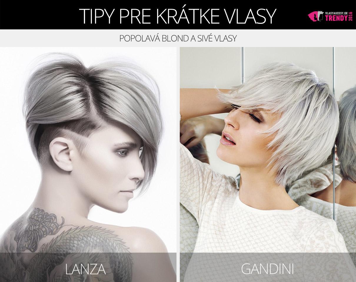 Krátke šedé vlasy v účesoch Lanza a Gandini.