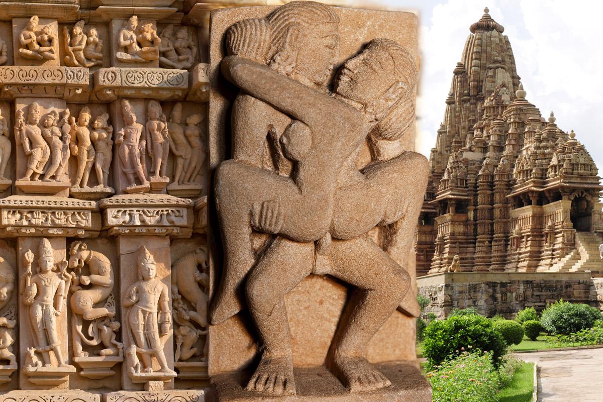 """Slávne polohy z Kámasútry sú súčasťou neopakovateľnej architektúry chrámu Kajuracho. """"Chrám lásky"""" je chránený UNESCO."""