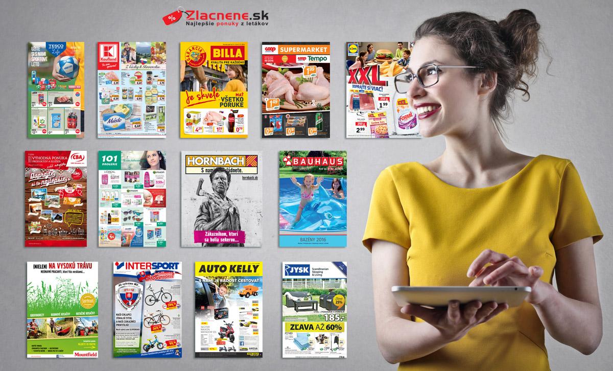 Projekt Zlacnene.sk vám na jenom mieste ukáže najnovšie akčné letáky z hypermarketov a supermarketov, z drogérií a parfumérií, z obchodov s elektronikou alebo bielou technikou, z hobby predajní a domácích potrieb, nábytkové letáky, akčné letáky textilu i športových potrieb.