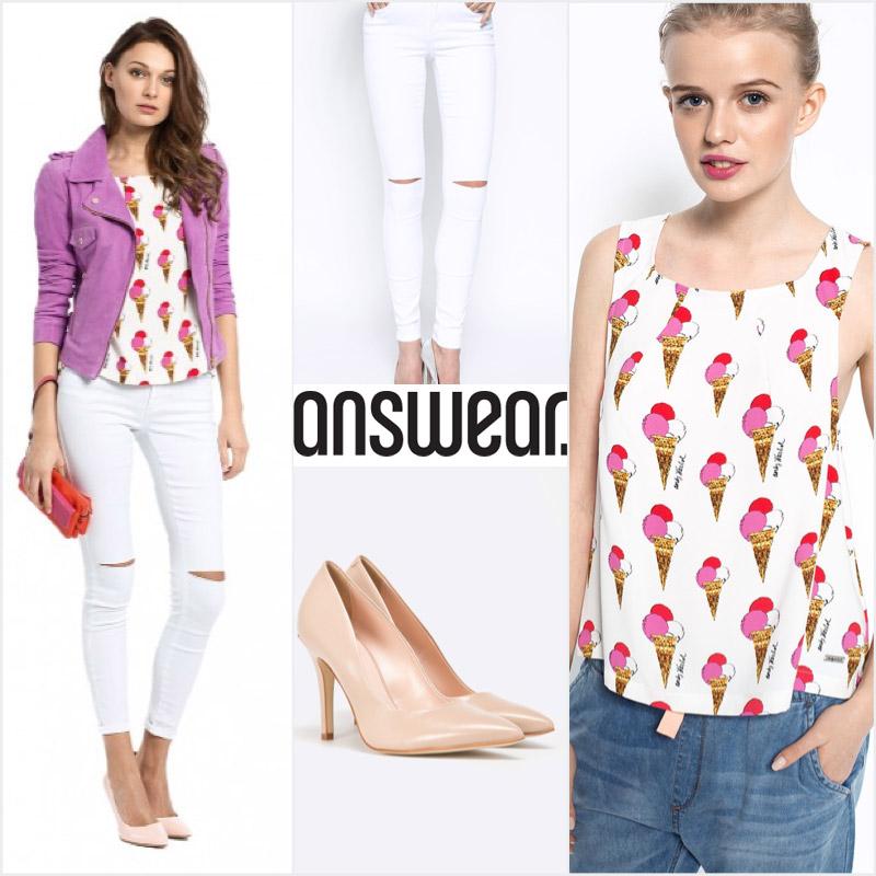 Džínsy a tričko vypadajú elegantne s lodičkami. Všetko kúpite na Answear.sk.