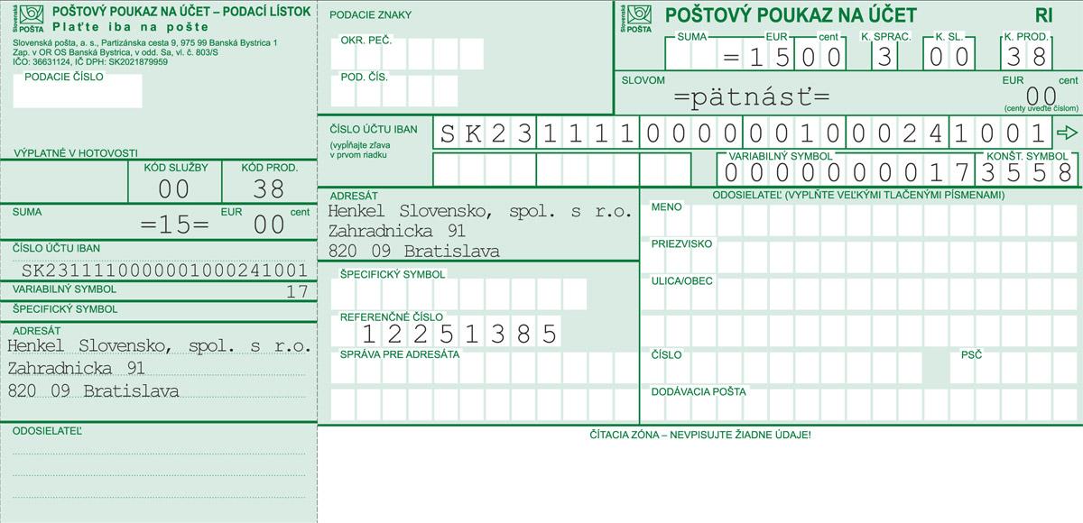 Vzor vyplnené zloženky pre slovenských účastníkov