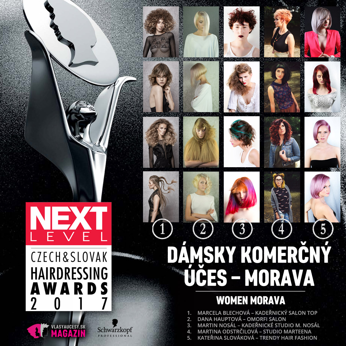 Czech&Slovak Hairdressing Awards 2017 – kategória Dámsky komerčný účes Morava.