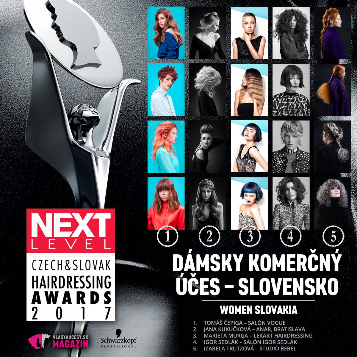 Czech&Slovak Hairdressing Awards 2017 – kategória Dámsky komerčný účes Slovensko.
