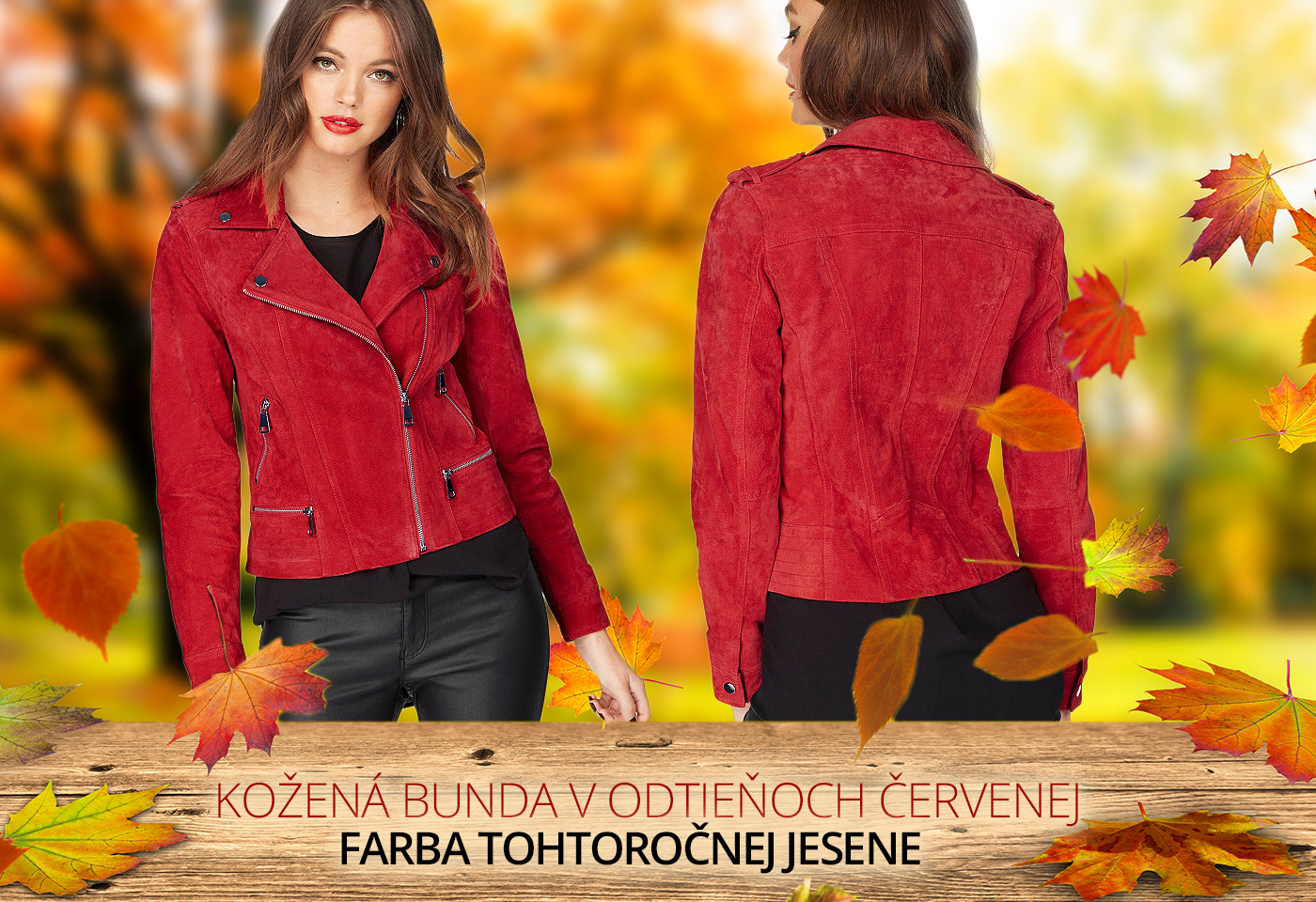 Kúpte si štýlovú koženú bundu v odtieňoch červenej, farbe tohtoročnej jesene a budete za hviezdu.