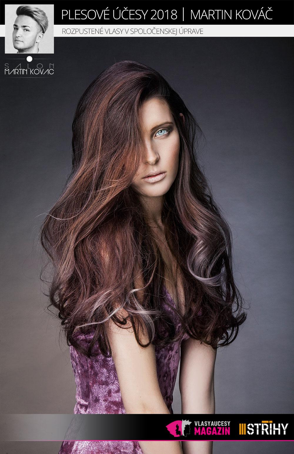 Rozpustené vlasy v spoločenskej úprave podľa Martina Kováča (Salon Martin Kováč).
