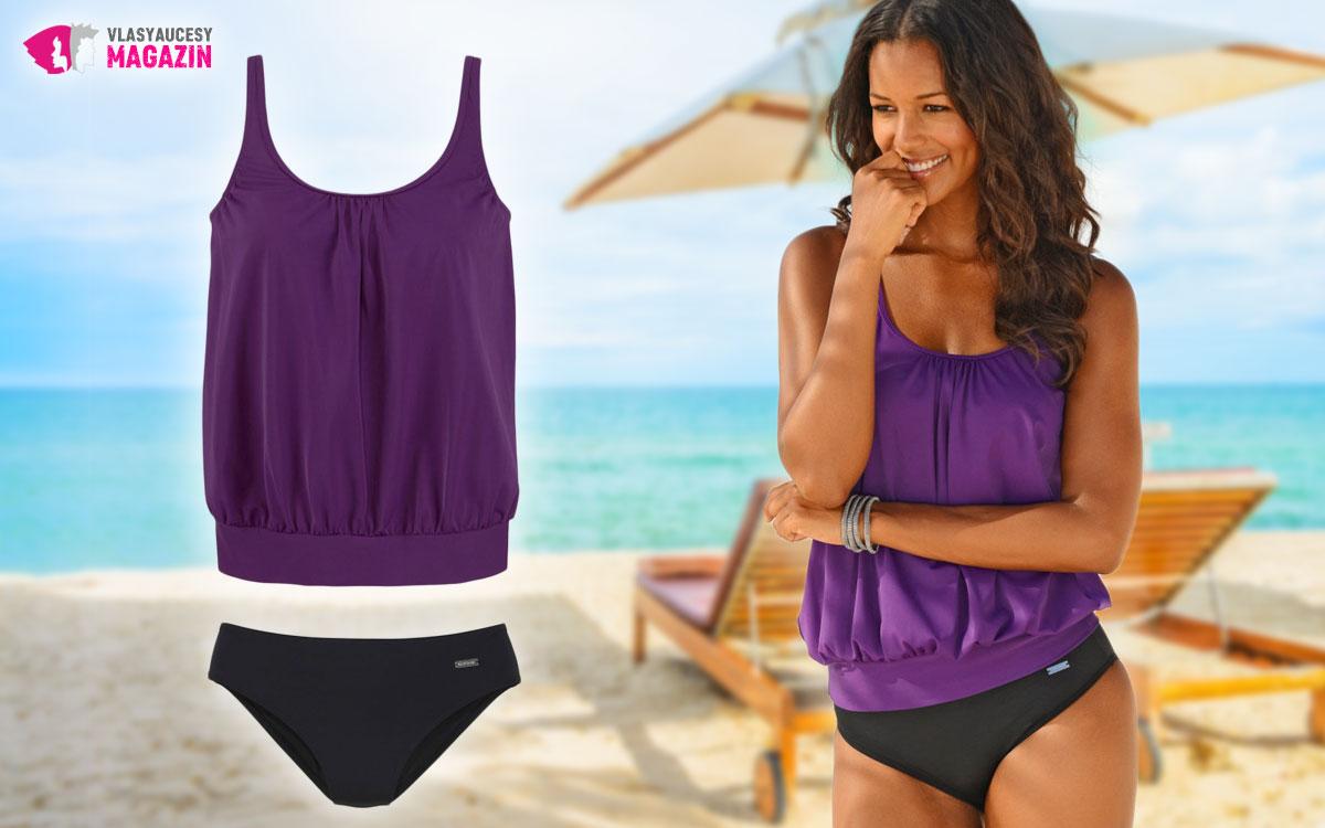 Tankiny sú praktické plavky, ktoré vedia zakryť potrebné partie.Tento rok si ich vyberte vo fialovej kombinácii.