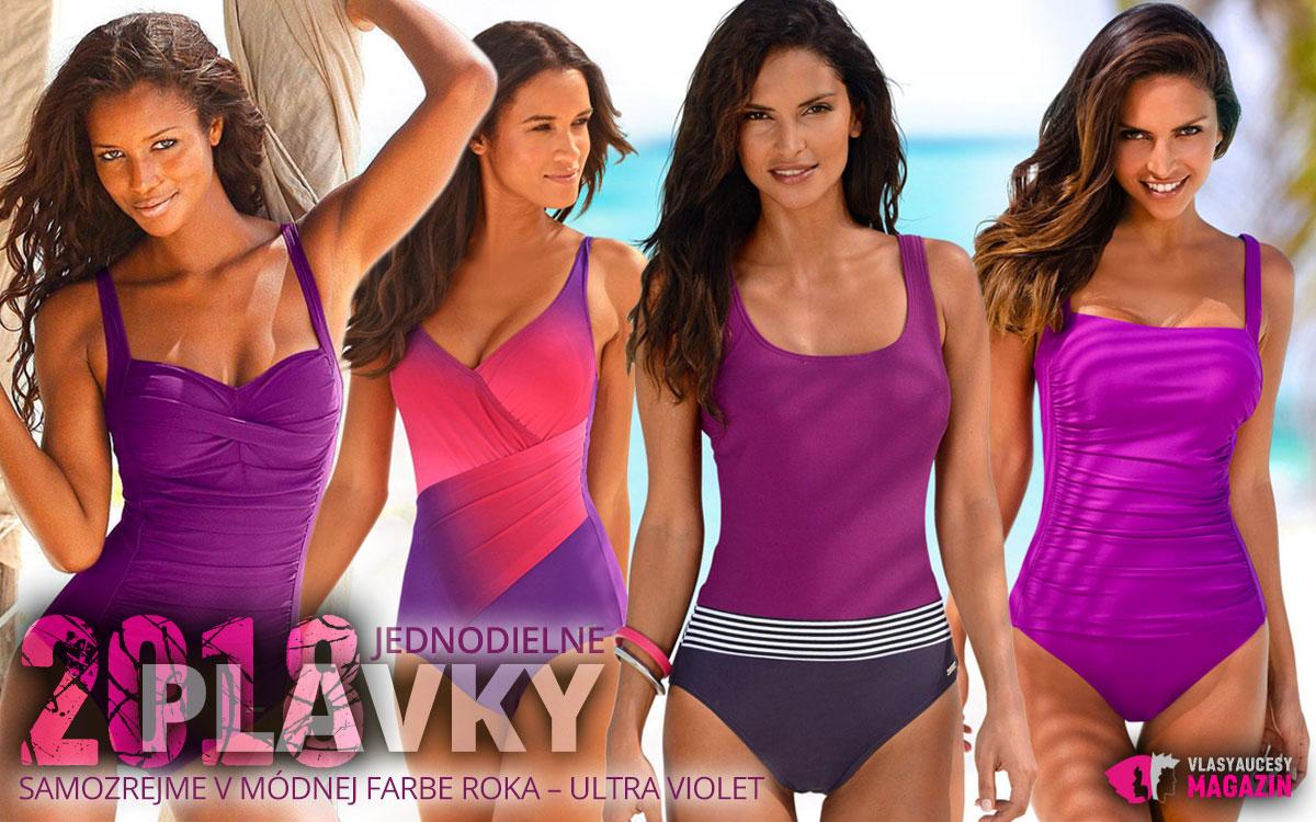 Jednodielne plavky zdobí tento rok zaujímavé tvarovanie výstrihu a samozrejme módna farba roku – Ultra Violet.