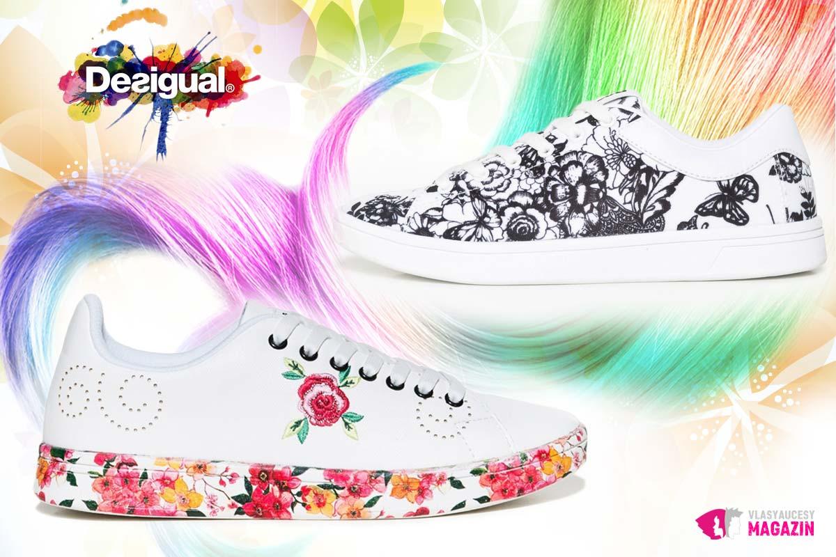 Topánky Desigual ponúkajú mimo iné skvelé modely módnych tenisiek k sukni.