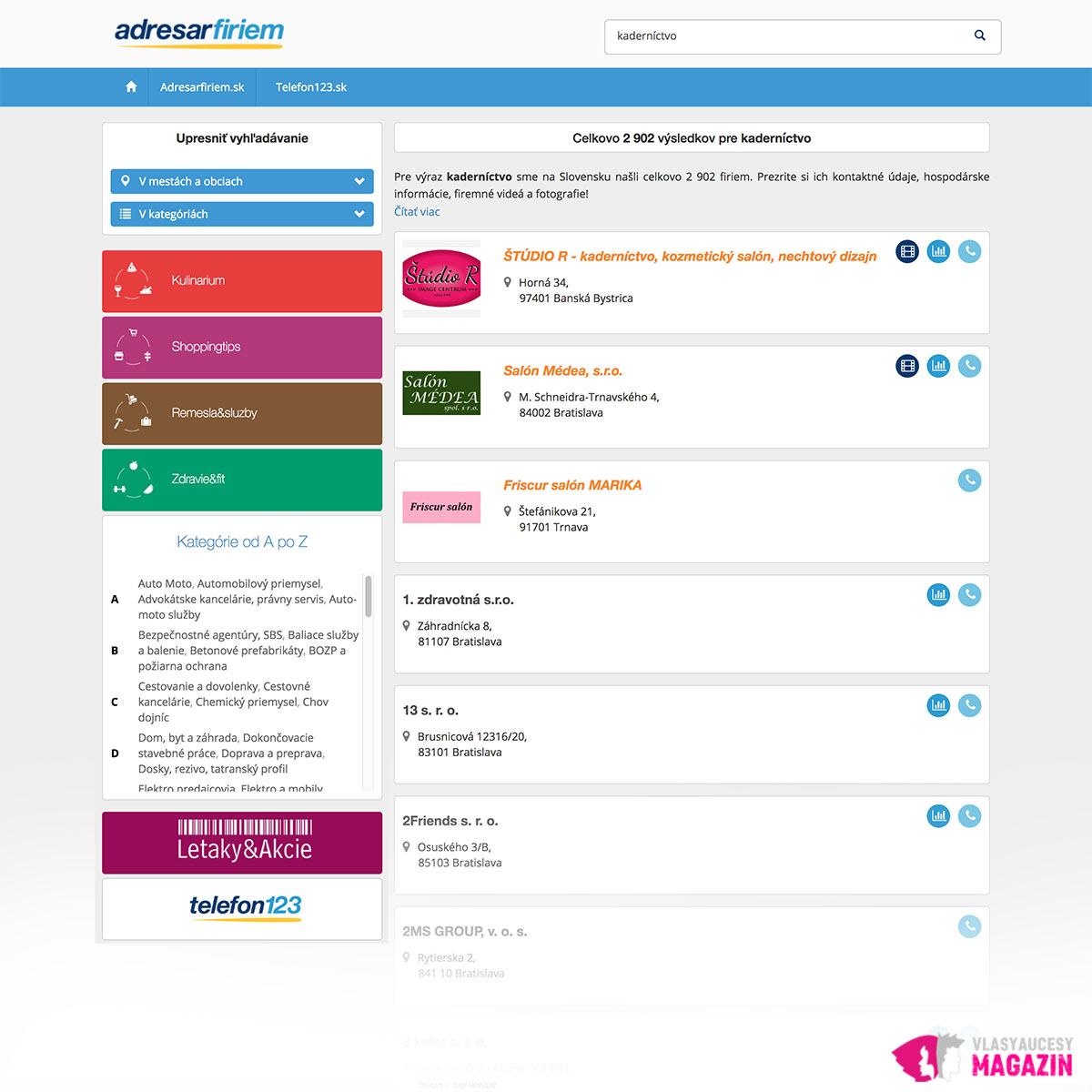 AdresarFiriem.sk je kvalitný katalóg, kde by váš salón nemal chýbať.