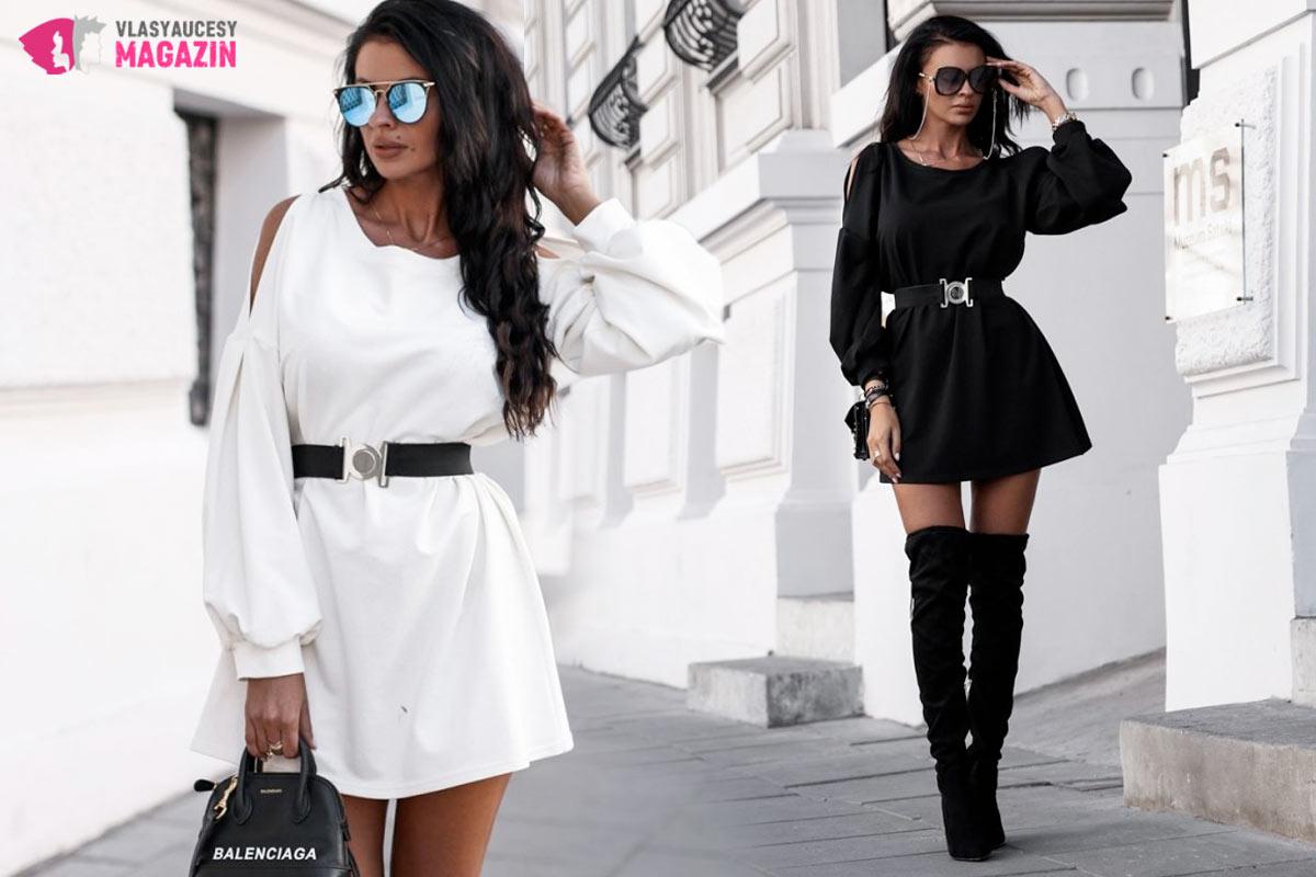 Aj oversized šaty vedia ukázať krivky. Tieto dámske šaty kúpite v e-shope Fashionmafia.sk.